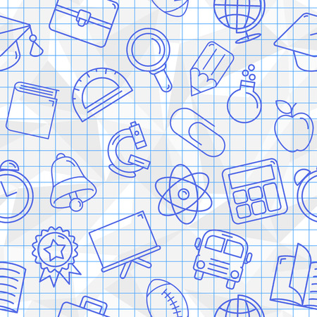 blue pen: Seamless pattern of school symbols drawn with blue pen