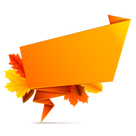 folded: Orange folded speech bubble with autumn leaves Illustration