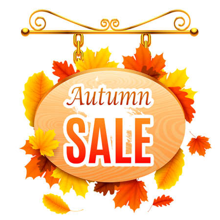 wooden signboard: Wooden signboard with autumn sale announcement on white background