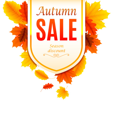 Autumn sale banner decorated with color leaves Illustration