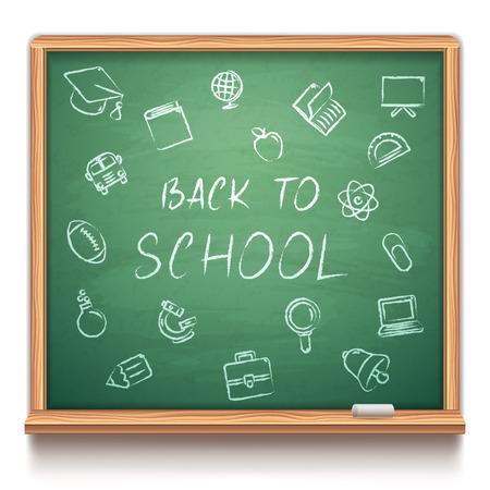 white chalk: Green chalk board with school symbols on white background