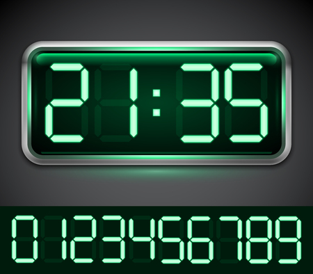 countdown clock: Modern digital clock with 10 green numbers