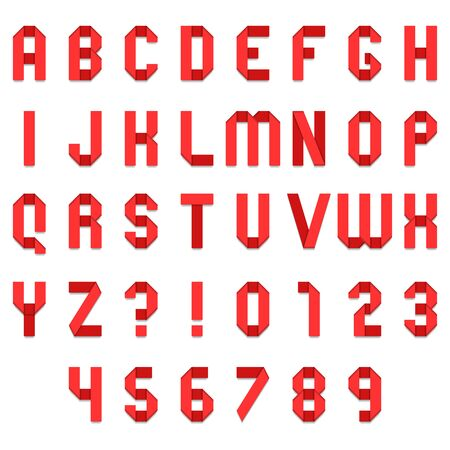white letters: Full alphabet of red folded paper font Illustration