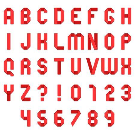 Full alphabet of red folded paper font Illustration