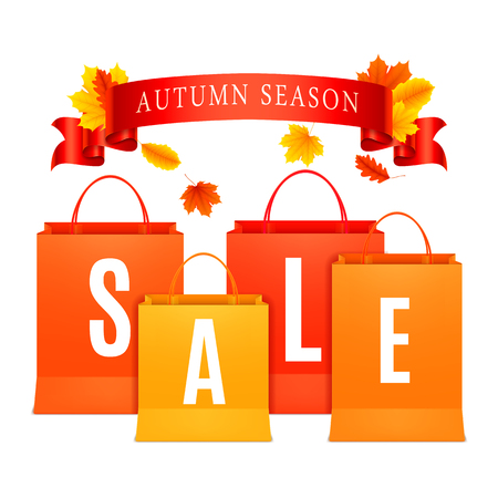 shopping bag: Color shopping bags with autumn sale announcement Illustration
