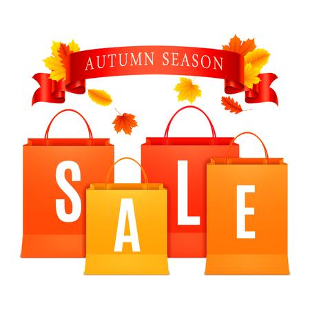 Farbe Einkaufstüten mit Herbst Verkauf Ankündigung Standard-Bild - 44245838