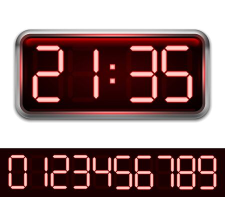 Modern digital clock with 10 red numbers