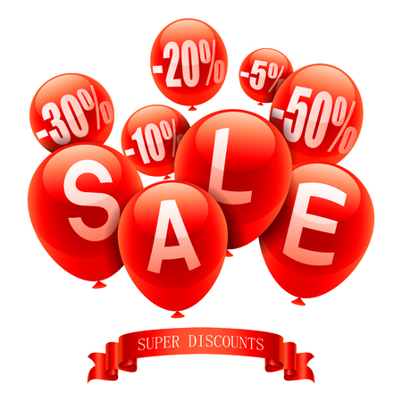 retail sales: Red party balloons with sale event announcement Illustration