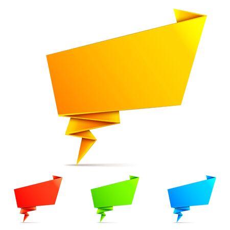 speak bubble: Set of 4 color paper origami speech bubbles