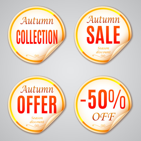 discount banner: Set of 4 autumn sale discount stickers