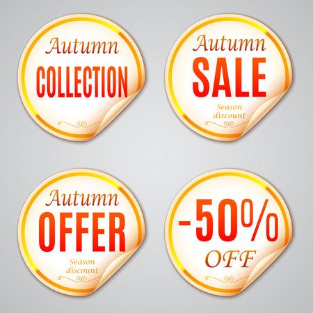 discounts: Set of 4 autumn sale discount stickers