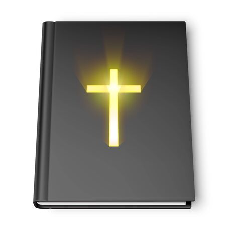 santa biblia: Holy Bible book with black cover and shining cross symbol