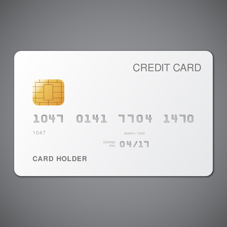 card: White credit card template on grey background