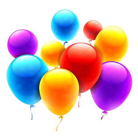 brigh: Group of brigh color balloons on white background