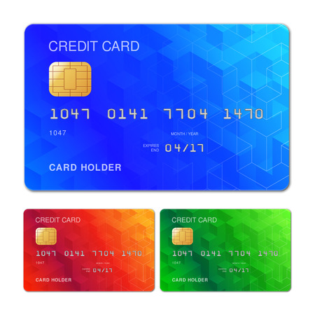 business card design: Three color credit cards with geometric pattern