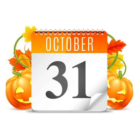 październik: Halloween calendar with October 31 date, pumpkins and  autumn leaves Ilustracja
