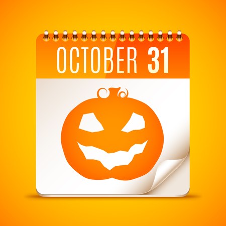 31: Halloween calendar with October 31 date and pumpkin symbol Illustration