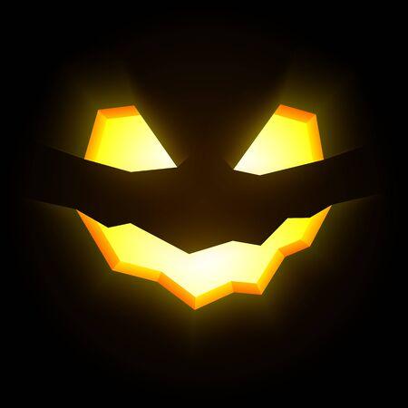 pumpkin face: Glowing halloween pumpkin face on dark background