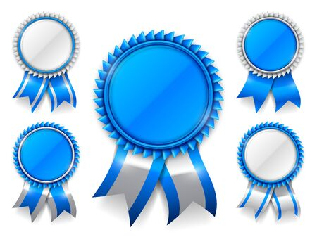 blue ribbon: Set of 5 blue award medals with ribbons