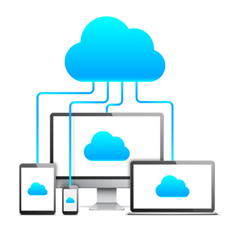 Desktop computer, laptop, tablet and mobile phone connected together by cloud technology Illustration