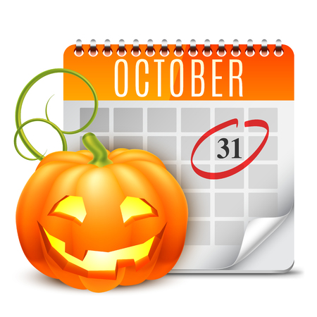 halloween calendar with october 31 date and pumpkin stock vector 46736373