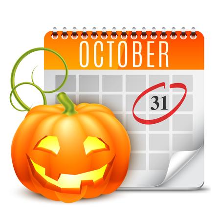 październik: Kalendarz Halloween 31 października datą i dyni