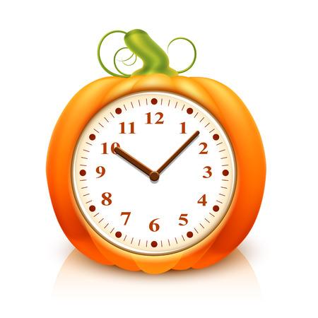 reloj: Calabaza anaranjada con el reloj en el interior sobre fondo blanco
