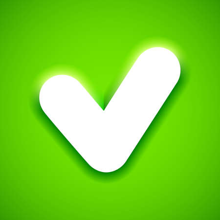 check symbol: White check mark symbol on bright green background