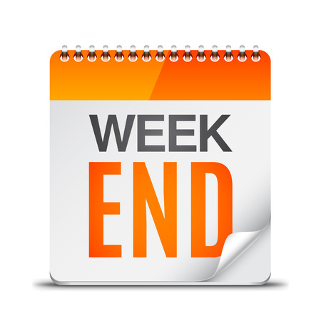 calendario: Calendario con el texto de fin de semana en el fondo blanco