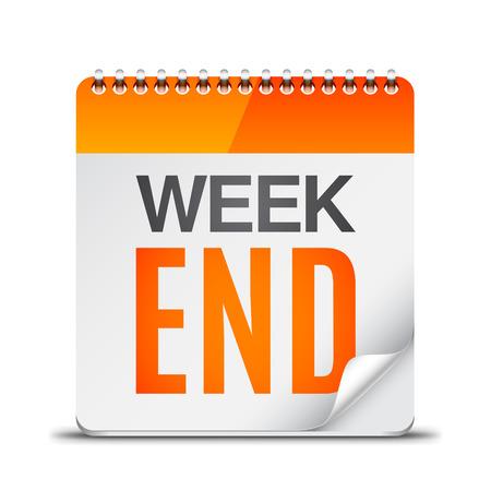 kalendarz: Kalendarz z tekstem week end na białym tle