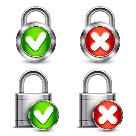 lock symbol: Collection of metal padlocks with check marks Illustration