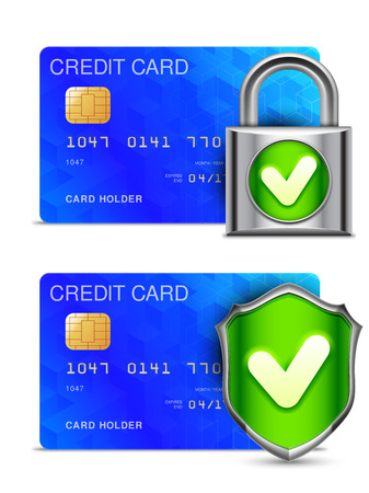 check symbol: Credit card protected by padlock and shield with check mark symbol