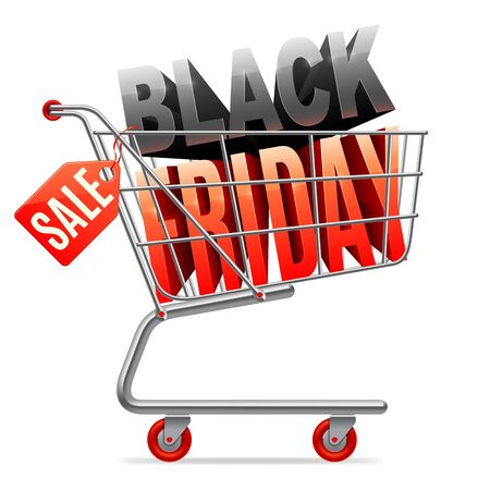 shopping store: Shopping cart with Black Friday 3D text inside and Sale tag