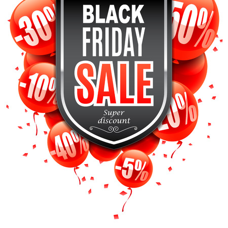 Black Friday Sale banner with red air balloons