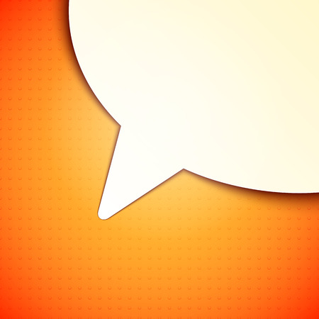talk bubble: White paper talk bubble on orange background Illustration