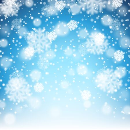 winter background: Vector illustration of bright winter background with falling snowflakes Illustration