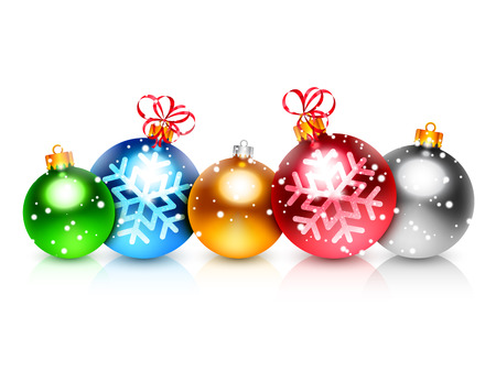 color balls: Set of 5 colorful christmas balls on white background