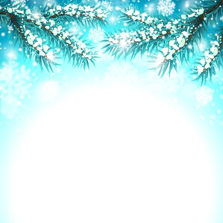 winter tree: Winter background with Christmas tree branches and snow Illustration