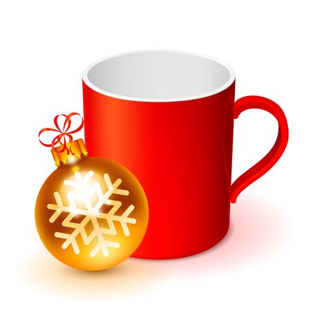 red cup: Red cup with golden Christmas ball on white background