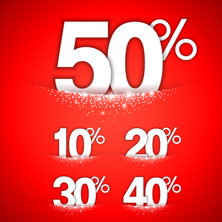 Winter discount numbers decorated with snow on red background