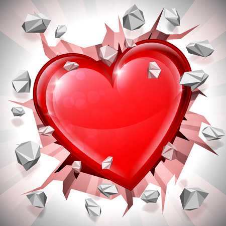 love explode: Shiny red heart breaking through wall. Power of love concept.