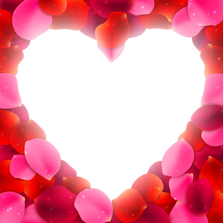 Heart shaped frame or border made of red and pink rose flower petals