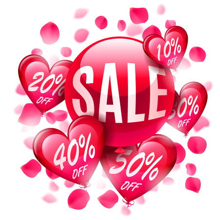 advertisment: Valentines day sale composition with balloons and rose petals