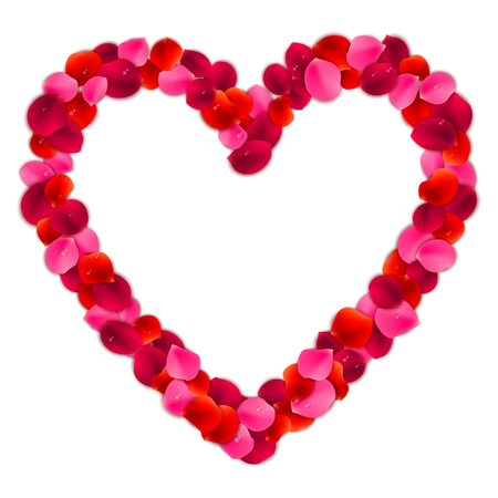 heart month: Heart shaped frame or border made of red and pink rose flower petals