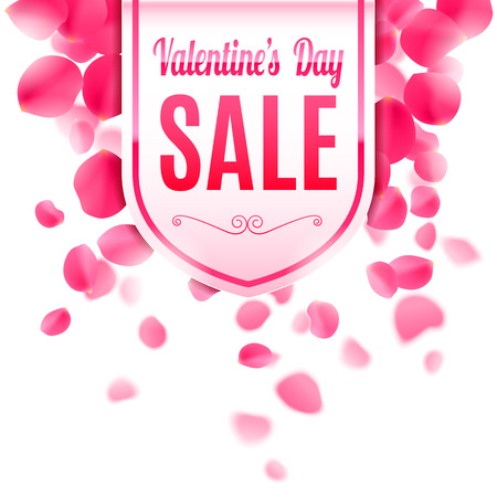 Valentines day sale banner decorated with rose petals Illustration