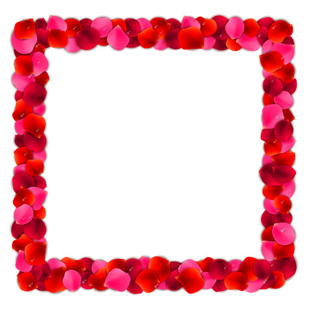 Square frame or border made of red and pink rose flower petals