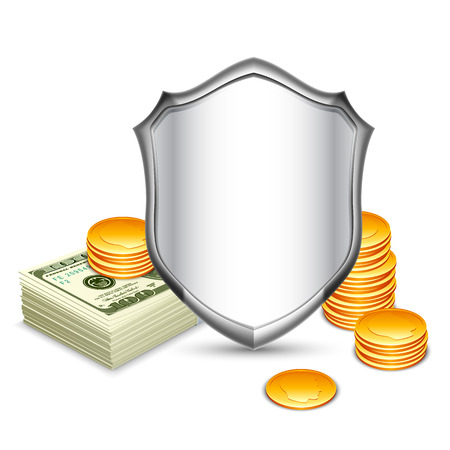 batch of dollars: Bussiness concept of security shield protecting money