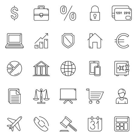 finance icons: Set of 25 thin line business and finance icons Illustration