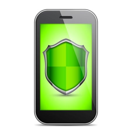 lock symbol: Mobile phone with green shield sign on screen Illustration