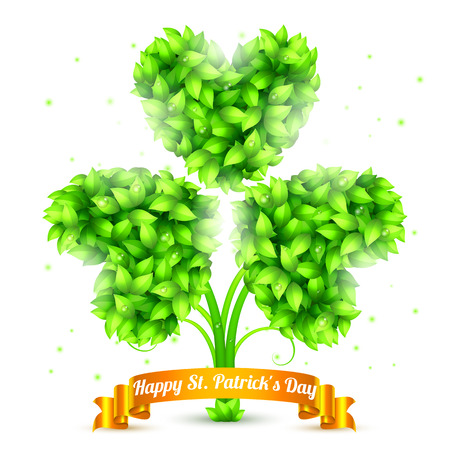three leaf clover: Three leaf clover made of green leaves and golden ribbon with  Happy St. Patrick Day congratulation Illustration